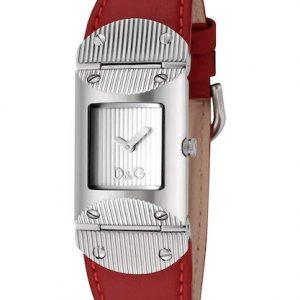 Orologio da donna D&G DW0327,Movimento al quarzo, cassa in acciaio con viti, vetro minerale curvato, resistente alla acqua3 bar.Cinturino in pelle rosso con fibbia personalizzata D&G.