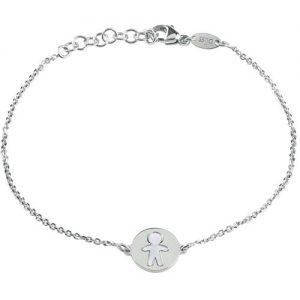 Bracciale Bliss Donna Coccole 20073200 realizzato in argento rodio e madreperla, con pendente che riporta il segno di bimbo.