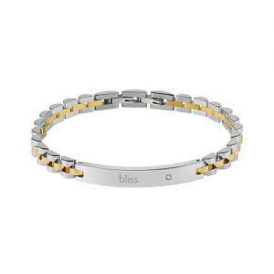 Bracciale Uomo Bliss Admiral 20073847 in acciaio e oro con un diamante naturale. Bracciale della lunghezza di 21 cm. Regolabile togliendo una maglia in prossimità della chiusura.