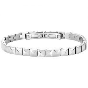 Bracciale Bliss Uomo Blaze 20056471 in acciaio e diamanti. Lunghezza bracciale 21,5. Modello morbido