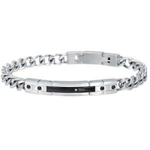 Bracciale Uomo Gioielli Bliss Rebel 20059874 realizzato in acciaio lucido pvd nero e diamanti. Lunghezza bracciale 21,5 cm.