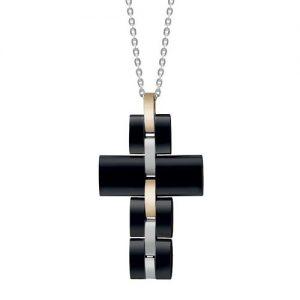 Collana Uomo Bliss Admiral 20071728 in acciaio anallergico pvd nero oro della linea Trendy uomo con pendente a croce doppio colore.