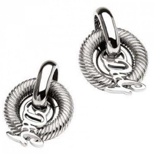 Orecchini da donna D&G DJ0770, realizzato in acciaio con maglie circolari, tipo di attacco perno e farfallina.orecchino lungo cm. 3- largo cm. 2,3.