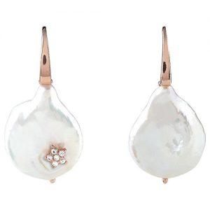 Orecchini Bliss Donna Oceania 20077690 con perle piatte, monachella argento rosé, elemento decorativo stella rosé in argento e zirconi.