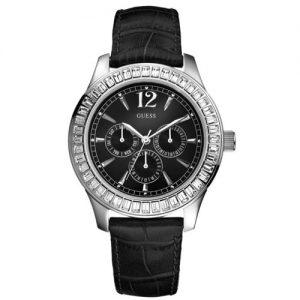 Orologio Guess Donna W12053L1 modello multifunzione con cassa in acciaio tonda e cinturino in pelle martellata colore nera