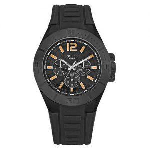 Orologio Guess Uomo W14041G1 con cassa tonda e cinturino in silicone nero. Modello multifunzione