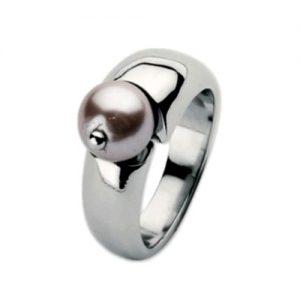 Anello Donna Breil TJ0784 realizzato in acciaio inossidabile. Color silver con perla rosa. Misura 10.