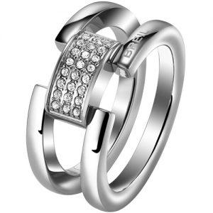 Anello Donna Breil TJ1638 collezione Breilogy realizzato in acciaio lucido con cristalli bianchi