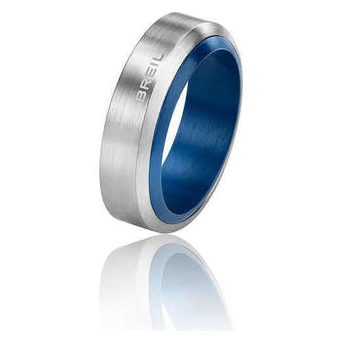Anello Uomo Breil TJ1384 collezione Bonfire in acciaio satinato e alluminio anodizzato blu. Misure 23 - 25