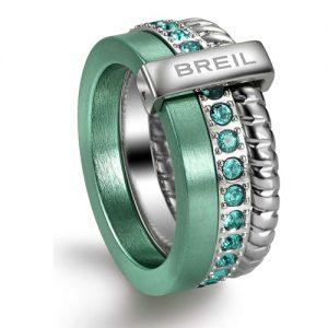 Anello Donna Breil Tj1727 collezione Breilogy Torsion realizzato in acciaio con dettagli in alluminio anodizzato verde e cristalli Swarovski verdi. Misura 14.