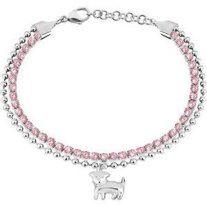Bracciale donna gioielli Sector SANN03 della collezione Tennis. Gioiello realizzato in acciaio e pietra di colore rosa. bracciale della lunghezza di 16 Cm Con Allungo Di 3 Cm.