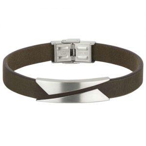 Bracciale Uomo Breil TJ2133 collezione Rebel realizzato in acciaio lucido. Cinturino in pelle marrone, con chiusura a gioielleria.