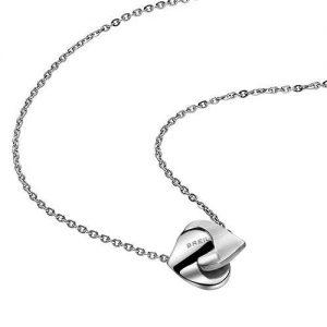 Collana Donna Breil TJ1489 realizzata in acciaio bilux, collezione Beat Flavor, con catena in acciaio lucido, chiusura a moschettone, cuore doppio, pendente piccolo.