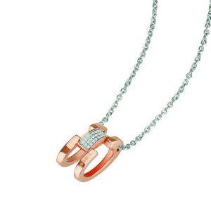 Collana Donna Breil TJ1808 collezione Breilogy Extension da donna. Modello a catena realizzato in acciaio lucido con pendente in acciaio lucido IP oro rosa e cristalli Swarovski.