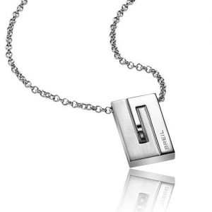 Collana Uomo Breil TJ1269 collezione Joint, con piastrina con cristallo, in acciaio bilux con cristallo nero. Catena con chiusura a moschettone.