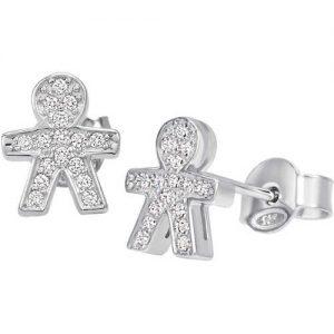 Orecchini da donna di Bliss della collezione simboli. Orecchini a forma di bimbo in argento rodiato e zirconi. La referenza e' 20073538