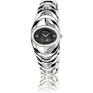 Orologio Donna Breil TW0422 modello solo tempo con cassa ovale in acciaio e quadrante colore nero con cristalli. Cinturino modello gioielleria in acciaio.