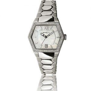 Orologio Donna Breil TW0674 modello solo tempo con cassa esagonale in acciaio con cristalli swaroski, quadrante chiaro, vetro minerale e cinturino modello bracciale in acciaio