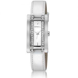Orologio Donna Breil TW0912 modello solo tempo con cinturino in pelle e cassa quadrata in acciaio con cristalli. Quadrante colore bianco.