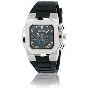 Orologio Uomo Breil TW0589 modello cronografo con cassa in acciaio quadrata e cinturino in gomma colore nero.
