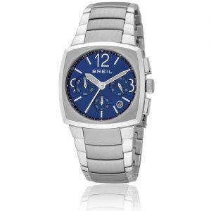 Orologio Uomo Breil TW0754 modello cronografo con cassa in acciaio forma quadrata, quadrante colore blu, vetro minerale e cinturino in acciaio.