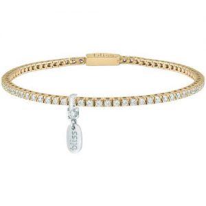 Bracciale donna gioielli Bliss 20084024 della collezione Mywords. Bracciale Tennis in argento dorato con Cubic Zirconia Bianchi. Gioiello della lunghezza di Cm 17,5.