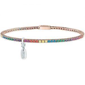 Bracciale donna gioielli Bliss 20084374 della collezione Mywords. Bracciale Tennis in argento rosé con Cubic Zirconia multicolore. Gioiello della lunghezza di Cm 17,5