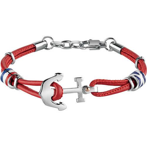 Bracciale uomo Gioielli Bliss 20071518 della collezione Sailing. Bracciale in acciaio ed ecopelle rosso della linea trendy uomo in pelle.