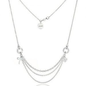 Collana Donna Gioielli Liujo LJ416. Girocollo in argento la sua lunghezza è 42 cm.Questo collana, e personalizzata da un fiocco laterale sempre in argento.