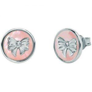 Orecchini donna Gioielli Bliss 20083986 della collezione Coccole. Orecchino in argento con madreperla rosa. Gioiello con soggetto a forma di fiocco.